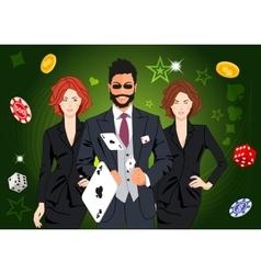 Confident lucky man throws aces vector image vector image