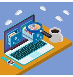 Desk with laptop 3d database storage server vector