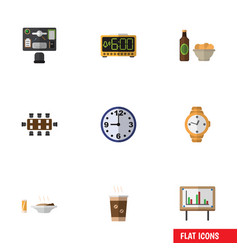 Flat icon lifestyle set of timer beer with chips vector
