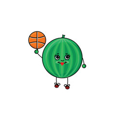 Flat sketch watermelon playing basketball vector