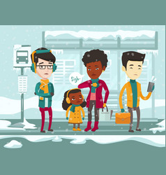 Frozen multicultural people waiting for bus vector
