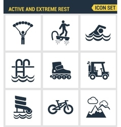 Icons set premium quality of active and extreme vector image vector image