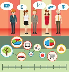 Infographic with people and graph vector