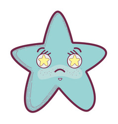 Kawaii angry star with stars inside eyes vector
