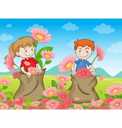 kids and flowers vector image vector image