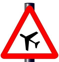 Low flying aircraft traffic sign vector