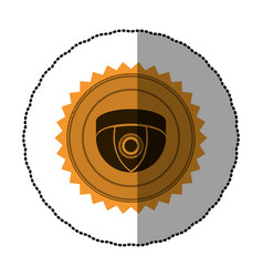 Orange emblem video camera interior icon symbol vector