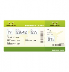 plane tickets business class green vector image vector image