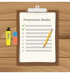 Promotional media checklist on the clipboard with vector