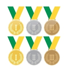 Set of gold medals silver medals and bronze vector