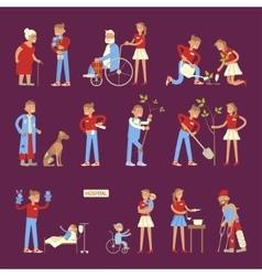 Set of volunteers characters vector