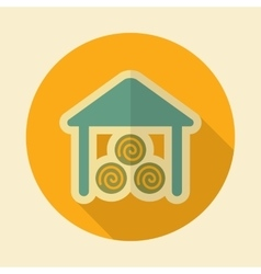 Shed retro flat icon with long shadow vector