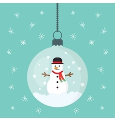 snowman inside Christmas decorations vector image vector image