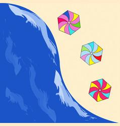 summer sea - beach with umbrellas on the sand vector image