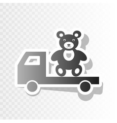 Truck with bear new year blackish icon on vector