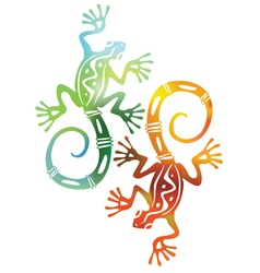 two decorative colored lizards vector image