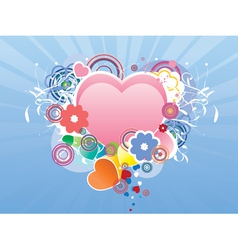Valentines day card with heart and flourish vector image vector image