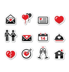 Valentines Day love icons set as labels vector image vector image