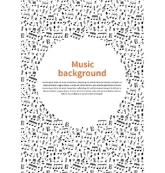 Background with music signs and text template vector image