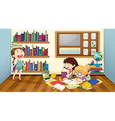 Three girls reading books in room vector