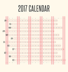 Calendar 2017 in Horizontal Vintage Design vector image