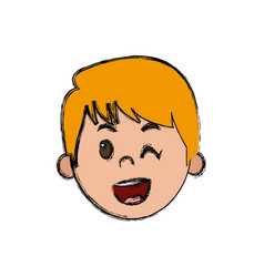 Cute young boy kid smile character school child vector