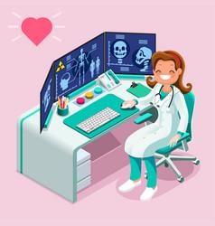 Hospital computer healthcare data isometric vector