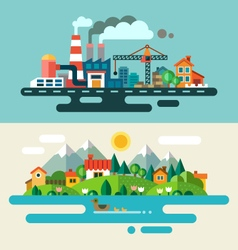 Urban and village landscape vector