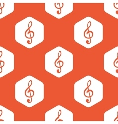 Orange hexagon music pattern vector