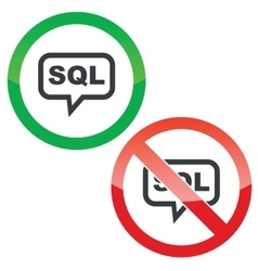Sql message permission signs vector