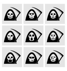 Death emoticon icons vector