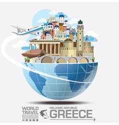 Greece landmark global travel and journey vector