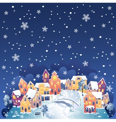 Winter night town vector