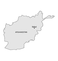 Afghanistan silhouette map with kabul capital vector