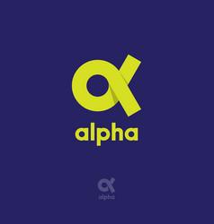 Alpha logo origami emblem ribbon vector