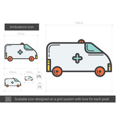 Ambulance line icon vector