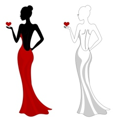 Beautiful girl in a red dress vector image