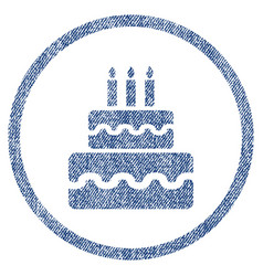 birthday cake rounded fabric textured icon vector image