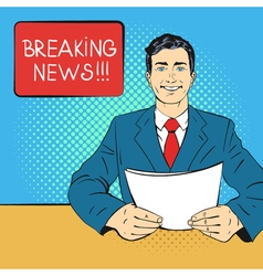 breaking news pop art vector image vector image
