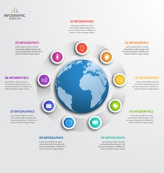 circle infographic template with globe 9 options vector image vector image
