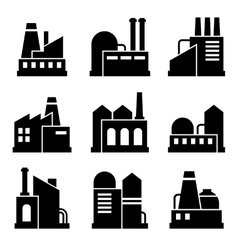 Factory and Power Industrial Building Icon Set vector image