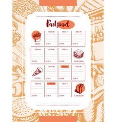 Fast food - color hand drawn vintage template menu vector