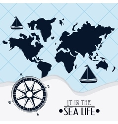 Flat about sea life design vector image