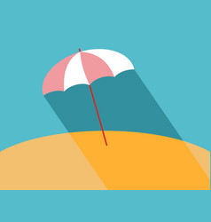 flat beach umbrella with long shadow vector image