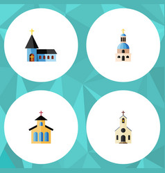 Flat icon building set of christian church vector