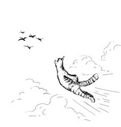 Flying cat vector