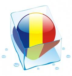 frozen button flag of romania vector image vector image