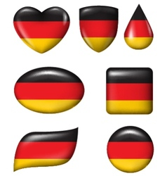 Germany Flag in various shape glossy button vector image