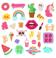 Girl fashion symbols stickers patches cute vector