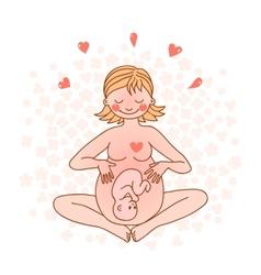 Happy pregnant woman vector